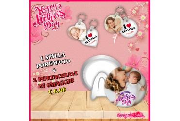 Festa della Mamma-spilla portafoto+portachiavi