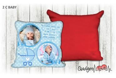 Cuscino Baby quadrato 40x40 -  Carrozzino Azzurro