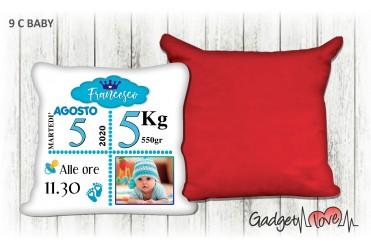 Cuscino Baby quadrato 40x40 - Nascita azzurro