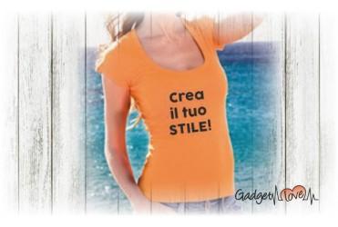 T-Shirt donna ampia scollatura personalizzata